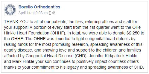 Facebook Post - OHHF Donation